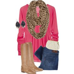 Love the leopard print scarf mixed with the pink top
