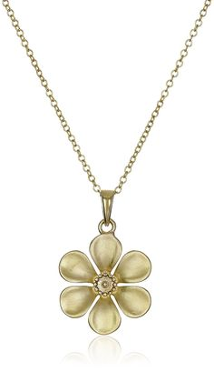 Sterling Silver Flat Flower Pendant Necklace, 18' ** You can get more details by clicking on the image.
