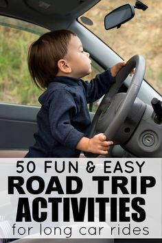 "Looking for road trip ideas for kids that don't involve electronic devices, play doh, stickers, and singing, Bottles of Beer on the Wall"" for 10 hours straight? Then this list of 50 fantastic travel activities for kids is for you! Road Trip Activities, Road Trip Games, Toddler Activities, Road Trip With Kids, Travel With Kids, Family Travel, Long Car Rides, To Go, Car Travel"