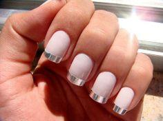 pink nails + metallic tips