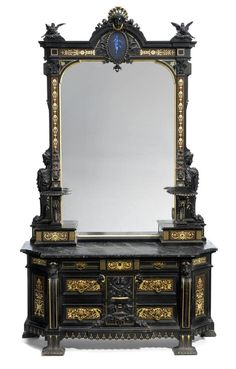 An important American Renaissance carved inlaid and ebonized mirrored dresser by Herter Brothers.