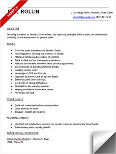 Sample Security Guard Resume Gorgeous Software Developer Resume Sample Resume Examples  Pinterest .