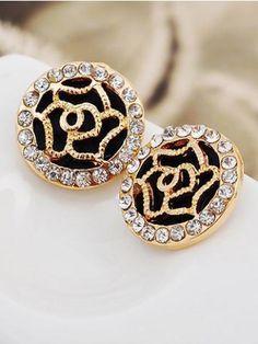 Golden Rosette Rhinestone Earrings