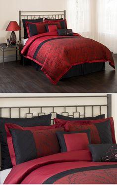 Unique Home Queen Burgundy Black Comforter Set 7 Piece