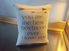 Best boyfriend gift pillow guy gift cotton by SweetMeadowDesigns