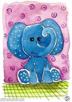 ACEO Original Watercolor Folk Art Illustration Whimsical Animals Baby Elephant | eBay