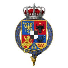 Garter-encircled Shield of Arms of Ferdinand I, King of Romania - User:Rs-nourse - Wikimedia Commons Royal Family Trees, Order Of The Garter, Emblem, Family Crest, Ferdinand, Coat Of Arms, Badge, Wikimedia Commons, Symbols