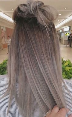 ombre hair balayage gray hair straight hair