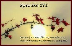 Afrikaanse Inspirerende Gedagtes & Wyshede: Spreuke 27:1