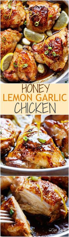 Juicy Honey Lemon Garlic Chicken with a crispy skin and a sweet, sticky sauce with ingredients you have in your kitchen cupboard! | http://cafedelites.com