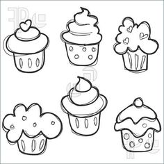 Illustration Of Hand Drawn Cupcake Set. Royalty Free Vector at ...