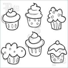 Illustration Of Hand Drawn Cupcake Set. Royalty Free Vector at ...