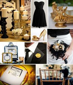 Gold and black wedding theme ideas. Favors, groom bottoniere and decorations. Gold candle sticks.