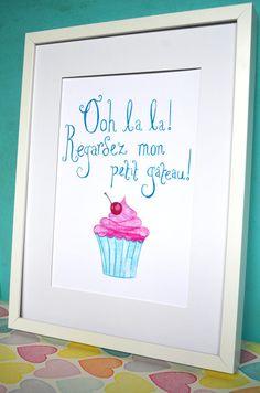 Ooh la la Regardez mon petit gâteau Art Print  by jojoencourages, $20.00