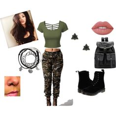 Military sweetheart by rfair on Polyvore featuring polyvore, fashion, style, LE3NO, Dr. Martens, Lime Crime and clothing