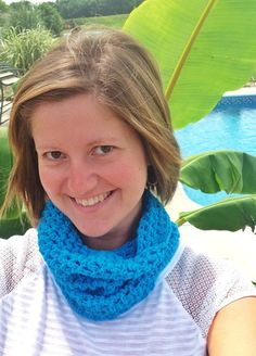 Blue aqua crochet cowl scarf by TraylorCrafts on Etsy, $19.00