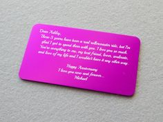 Personalized Love Note Aluminum Wallet Card by BlackDogEngraving, $15.00 #valentine