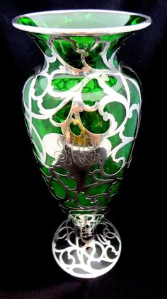 Rare Silver Overlay Green Glass Vase with scroll design and monogram on the cartouche CA. on Jan 2013 Green Vase, Gothic House, Scroll Design, Silver Bars, Hurricane Glass, Overlays, Sterling Silver Rings, Glass Art, Stone