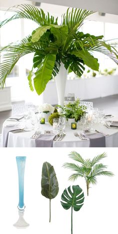 Modern Tropical Centerpiece Recreate this elegant look for your beach or tropical wedding with products from Afloral.com #diywedding