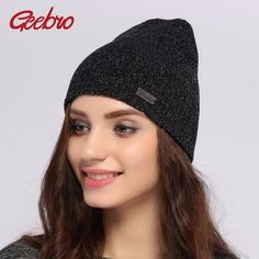 b04f44d560ae75 Geebro Brand Winter Women's Beanie Hats Casual Black Knitted Acrylic Slouchy  Skullies Beanies for Women Female