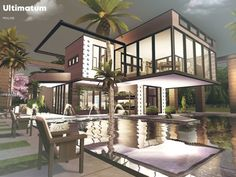 The Sims 4 Ultimatum Sims 4 Modern House, Sims House, Modern Houses, Sims Building, Sims 4 Update, Mansions, Architecture, House Styles, Bed