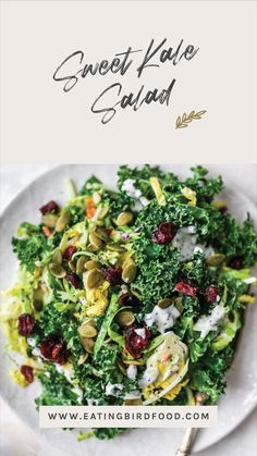 Healthy Thanksgiving Recipes, Healthy Salad Recipes, Sweet Kale Salad, Nice Salad, Clean Eating, Healthy Eating, Healthy Lunches, New Recipes, Cooking Recipes