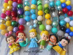 Disney Princess Inspired Chunky Necklace Belle, Ariel, Cinderella, Jasmine, Snow White, or Tinkerbell