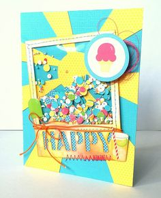 Happy Shaker Card Tutorial featured at PapercraftingStudio.com