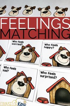 Emotion Sorting Activity: Build emotional vocabulary and emotion identification skills with these seasonally themed feelings matching activities! Use these feelings matching activities for school counseling centers, individual counseling, or small group counseling activities to help students learn to recognize and name feelings. #counselorkeri