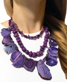 GEMSTONE, AMETHYST, Statement Necklace, Purple, Lavender, Bold, Chunky, Genuine, Sparkle, Jewelry by Jessica Theresa