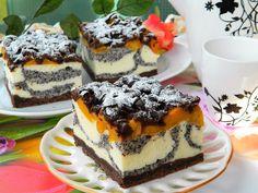 Idealne ciasto na święta, które łączy w sobie: kruchość kakaowego ciasta, sera, maku, kokosu i brzoskwiń. Dodatkowym atutem jest efektowny wygląd. Polecam :) Polish Desserts, Polish Recipes, Sweet Recipes, Cake Recipes, Dessert Recipes, Cheesecake, Homemade Cakes, Yummy Cakes, No Bake Cake