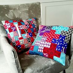 Blue, red and purple Pillows - Plusses and Tumblers