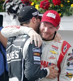 6-8-14 Jimmie congratulating Dale in victory lane after winning at Pocono