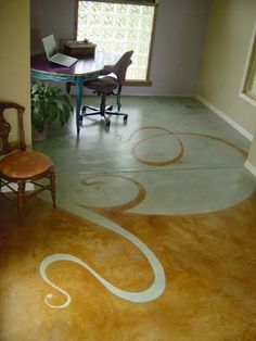 Concrete stained floor.  I Love Love Love this!!