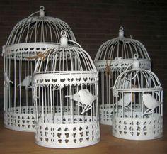 Edler Metall Vogelkäfig in Weiß 34 + 24 + 20 cm Deko Antik Optik Nostalgie NEU | eBay