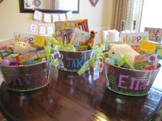 Easter baskets but use metal tins instead: decorate with names, bunnies etc. Real Life, Real Estate, Real Dana: Sunday News & Easter Basket DIY Tutorial Hoppy Easter, Easter Gift, Easter Bunny, Easter Party, Easter Decor, Easter 2018, Easter Buffet, Easter Centerpiece, Easter Table