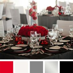 Red, White, Gray, Black Color Palette, my upcoming wedding colors!