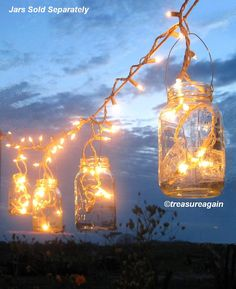 Mason Jar Party Lights, DIY Lantern Hangers, the ORIGINAL Mason Jar Lights Strand Design by treasureagain http://etsy.me/1eqCBkv