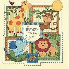 "Baby Hugs Savannah Birth Record Counted Cross Stitch Kit, 12""X12"" 14 Count…"