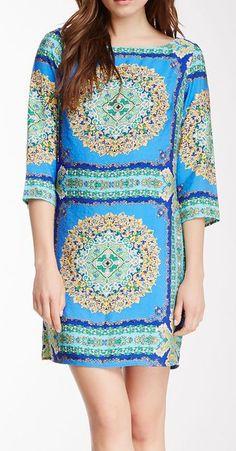 3/4 Length Sleeve Scarf Print Dress
