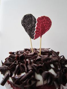 Anti Valentine's Day. Black and Red. Glitter. Broken Heart. Cupcake Topper. Made with NO Love.