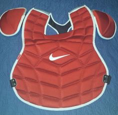 NEW Nike Baseball Youth Chest Protector Catchers Equipment Red Padded Baseball Gear, Softball Catcher, Youth, Nike, Red, Shopping, Ebay, Young Adults, Teenagers