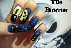 Tim Burton's Nightmare Before Christmas - Nail Art Nightmare Before Christmas Nails, Disney Nails, Jack And Sally, Halloween Nails, Halloween Makeup, Christmas Nail Art, Nerd Geek, Tim Burton, Design Tutorials