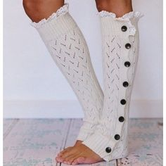 Lacy Button Down Leg Warmers