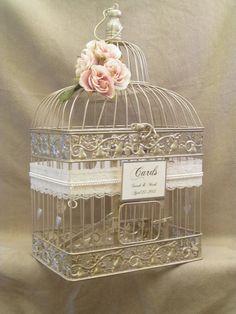 Birdcage Wedding Card Box / Champagne Birdcage / Pearls / Bird Cage Wedding Card Holder / Elegant / Gold