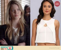 Ali's white crossover front top on Pretty Little Liars.  Outfit Details: http://wornontv.net/35583/ #PLL