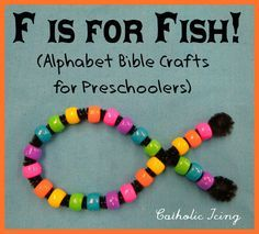 We are continuing our Bible Alphabet craft series, and this week with my preschoolers, we learned about being fishers of men, and made a Jesus Fish craft for the letter Ff. Supplies Needed: Pipe Cl...