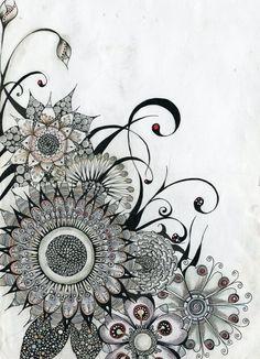 Flowers by lindzb on deviantart zentangle nature inspi Tangle Doodle, Tangle Art, Zen Doodle, Doodle Art, Zentangle Drawings, Doodles Zentangles, Zentangle Patterns, Doodle Drawings, Tatoo Henna