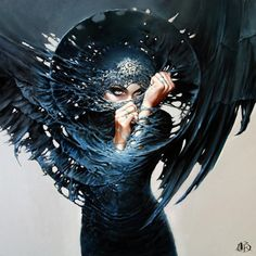 woman angel of death painting portrait evil mischief naughty dark gothic beautiful eyes art