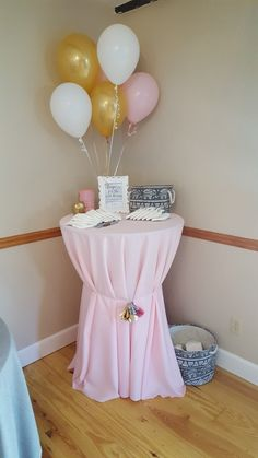Pink, white, gold and grey. Baby shower. Boho elephants. Late night diaper note station